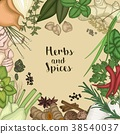 Background design with herbs and spices 38540037