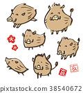 手寫的野豬圖新年賀卡動物生肖動物 38540672