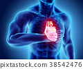 3d illustration of human heart attack. 38542476