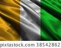 Cote d'ivoire flag 3D illustration symbol. 38542862