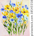 Hand painted modern style yellow and blue flowers 38545558