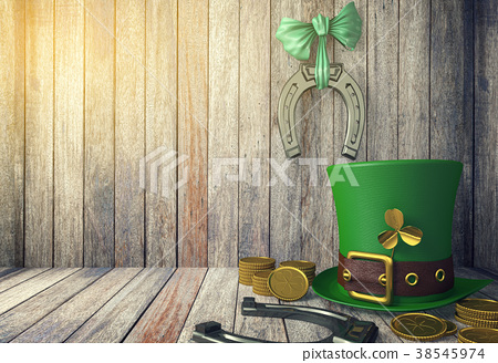 St. Patrick's Day Leprechaun Hat with Gold Coins  38545974