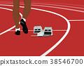runner athlete and starting blocks 38546700