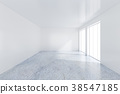 Large window in white room with a bright light. 3D 38547185