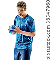 handball player teenager boy isolated 38547960