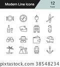 Travel icons. Modern line design set 12.  38548234