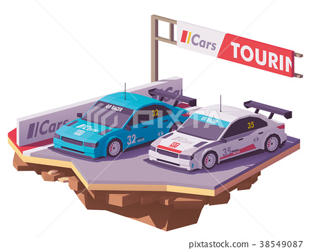 Vector low poly touring racing cars 38549087