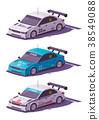 Vector low poly touring racing car 38549088