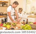 father, kitchen, preparing 38550402