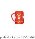 Red mug - cocoa, coffee, tea, winter holiday icon 38550564