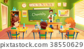 Children at chemistry lesson, vector illustration 38550629