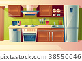 Vector cartoon set of kitchen counter with 38550646