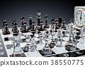 Checkerboard with glass chess figures 38550775