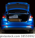 Modern blue sedan trunk 38550992