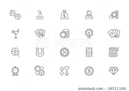 Set of vector gambling and casino line icons. Dice 38551168