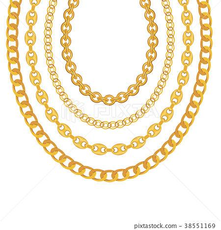 Gold Chain Jewelry on White Background. Vector 38551169
