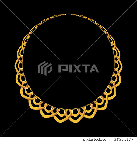 Gold Chain Jewelry on Black Background. Vector 38551177