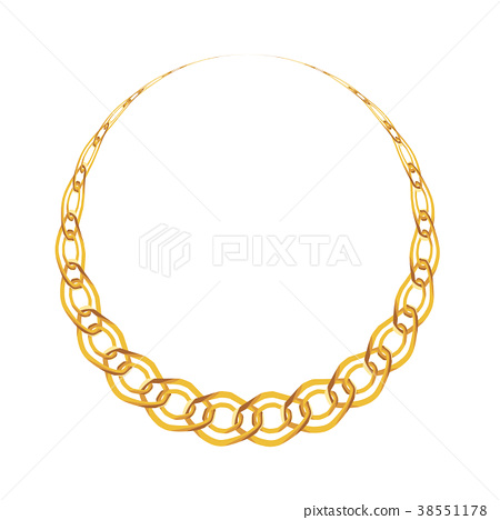Gold Chain Jewelry on White Background. Vector 38551178
