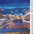 otaru canal, winter, landscape painting 38552841