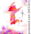 Watercolor jump girl 38553035