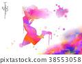 Watercolor jump girl 38553058