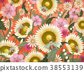 Honey bees and flowers background 38553139