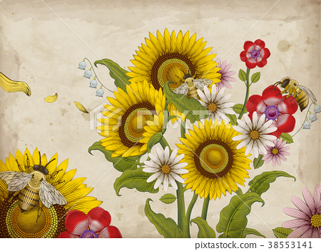 Honey bees and wildflowers 38553141