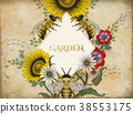 Honey bees and flowers background 38553175