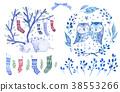 Christmas greeting watercolor set 38553266