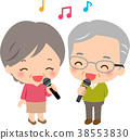 高級男人和女人用麥克風唱歌 38553830