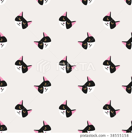 Seamless background nursery cute lovely cat face 38555158
