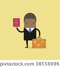 African businessman with a suitcase and passport. 38556096