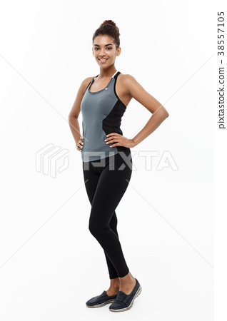 Healthy and Fitness concept - portrait of African 38557105