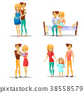 Couple and child vector illustration of cartoon 38558579