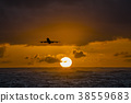 Aircraft flying over amazing tropical ocean at 38559683