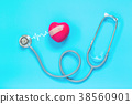 stethoscope and red heart with cardiogram 38560901