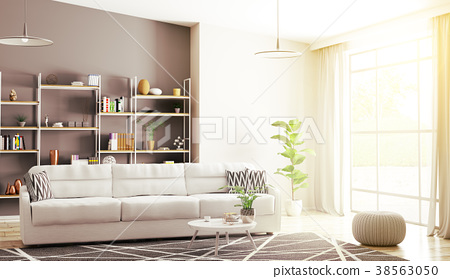 Interior of modern living room 3d rendering 38563050