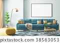 Interior of living room with sofa and poster 3d 38563053