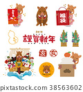 wild boar, boar, material for new year's cards 38563602