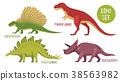 dinosaur, set, vector 38563982