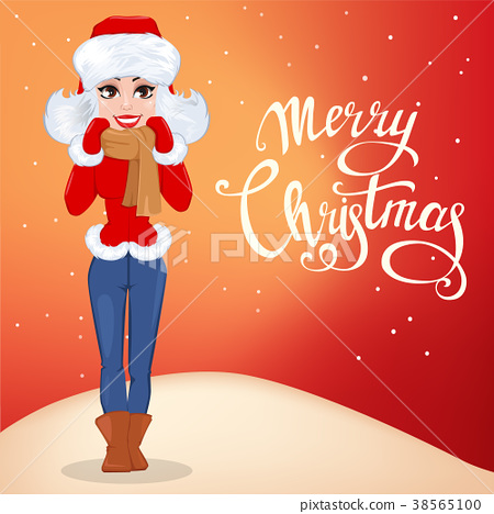Merry Christmas Greeting Card With Beautiful Woman Stock