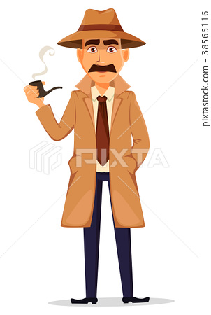 Detective in hat and coat. Handsome character 38565116