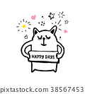 Cute cat with signboard Happy Days 38567453