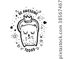 Be awesome today. Vector cartoon sketch 38567467