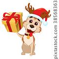 Cute dog wearing Santa Claus hat and deer antlers 38568363