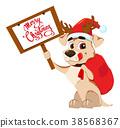 Cute dog wearing Santa Claus hat and deer antlers 38568367