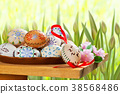 Easter Eggsl on the Table in the Garden 38568486