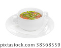 Soup in a white plate isolated white 38568559
