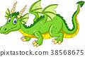 Cartoon dragon isolated on white bacground 38568675