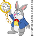 Cartoon rabbit holding watch 38568688